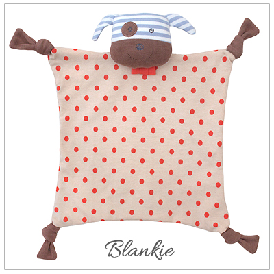 Adorable baby boy blankie in our Boxer the Dog design. 100% organic cotton baby shower gift.
