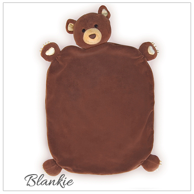 Bear cub blankie baby gift for little boys. 100% organic and hypoallergenic.