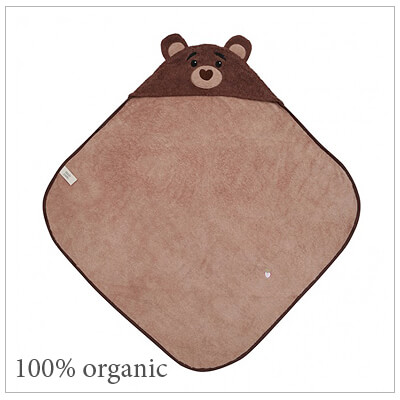 Baby hooded bath towel with a bear cub design. Our cubby hooded towel is 100% organic, soft cotton terry with embroidered features.