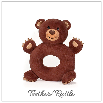 Bear cub teether rattle made from 100% organic cotton materials. Perfect baby gift and hypoallergenic.