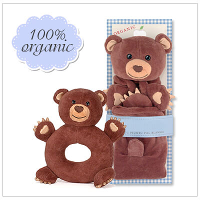 Two piece baby shower gift set. All items in the set are 100% organic. Includes bear cubby blankie and matching teether rattle.