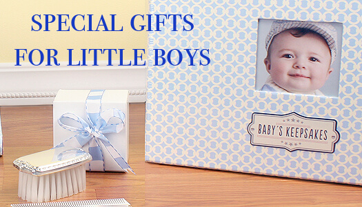 Gifts for baby boys; sterling silver brush and comb set can be personalized. Baby boy keepsake chest for storing all his special mementos.