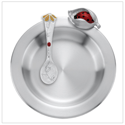Baby girl gift set of feeding dish and matching spoon finely crafted in pewter. Dish has a ladybug nestled in a leaf and matching spoon has a tiny ladybug climbing up a flower stem.