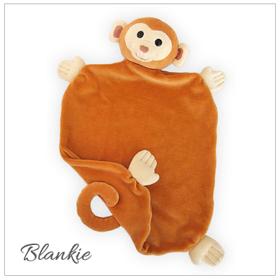 Monkey blankie for baby boys made of 100% organic cotton. Our baby gift is hypoallergenic.