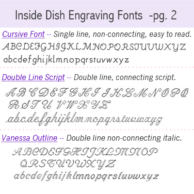 Engraving fonts.