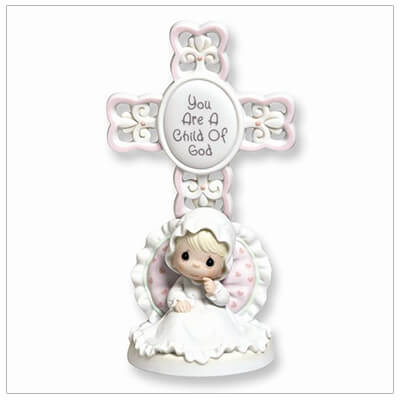 Adorable bisque porcelain Cross and little girl figurine for Baptism gifts and Baby Dedication gifts. Inscription reads, You are a Child of God.