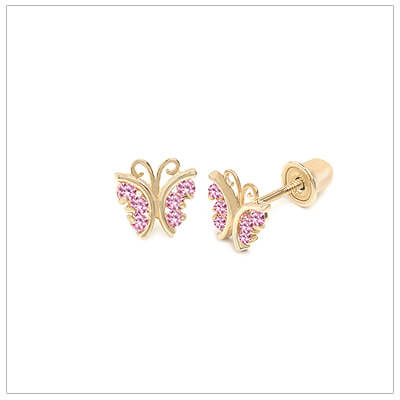 14kt gold butterfly earrings for babies and children set with pink cubic zirconia.