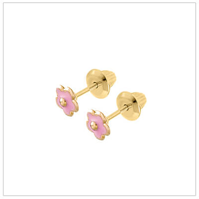14kt gold pink flower baby earrings; screw back earrings for baby and child.