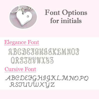 Font options for engraving initial on the diamond charm.
