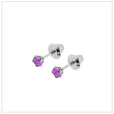 Sterling silver birthstone earrings for babies and children with screw backs. These screw back birthstone earrings for February have synthetic birthstones.