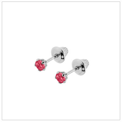 Sterling silver birthstone earrings for babies and children with screw backs. These screw back birthstone earrings for July have synthetic birthstones.