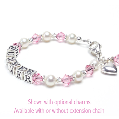 Baby and children's pearl name bracelet with soft pink Swarovski crystal.