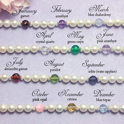 Genuine birthstones available for personalized baby name bracelet.
