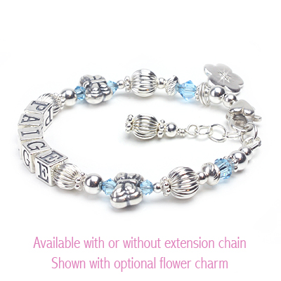 Sterling silver name bracelet for baby and child with butterfly beads and birthstone crystals.