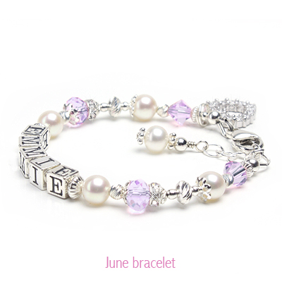 Baby and child bracelet shown in June birthstone crystals.