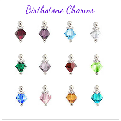 Birthstone charms for personalized heart locket.