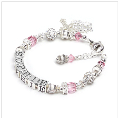 Baby and children's name bracelet with birthstone cube crystals and crystal rondelles and beads.