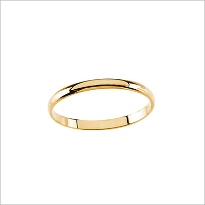 14kt yellow gold baby ring in traditional band ring style, five sizes available.