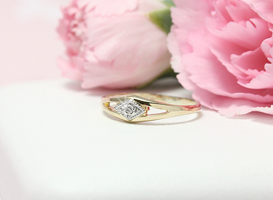 Diamond ring for baby and toddler in 10kt gold.