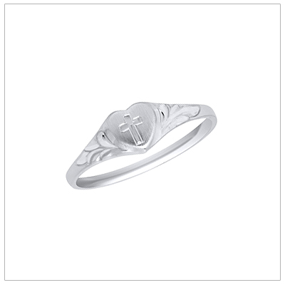 White gold heart shaped baby ring with an engraved Cross; baptism and christening jewelry.
