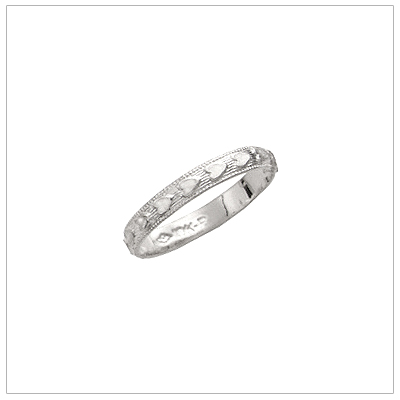 White gold heart band ring for babies and children.