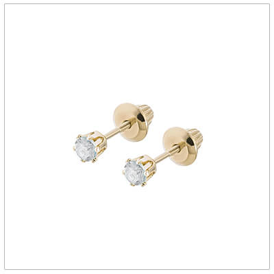 14kt screw back earrings for babies and children, birthstone earrings for April.