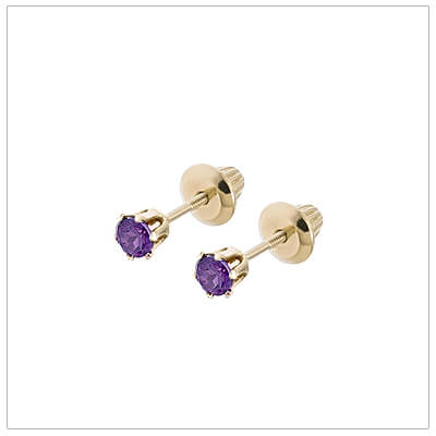 14kt screw back earrings for babies and children, birthstone earrings for February.