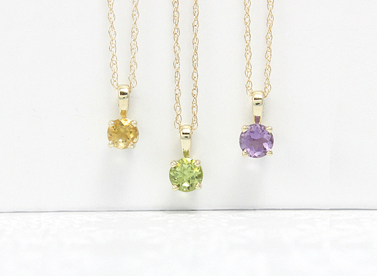 Birthstone necklaces in 14kt gold with genuine 4mm birthstones.