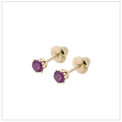 14kt screw back earrings for babies and children, birthstone earrings for June.