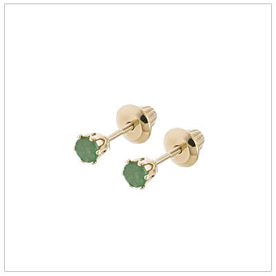 14kt screw back earrings for babies and children, birthstone earrings for May.