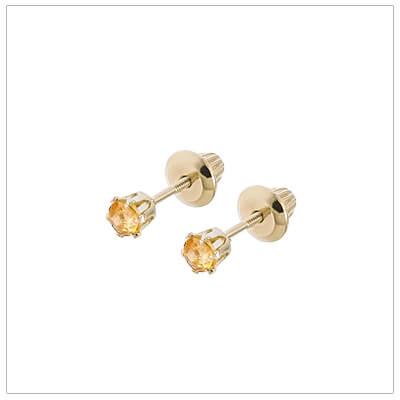 14kt screw back earrings for babies and children, birthstone earrings for November.
