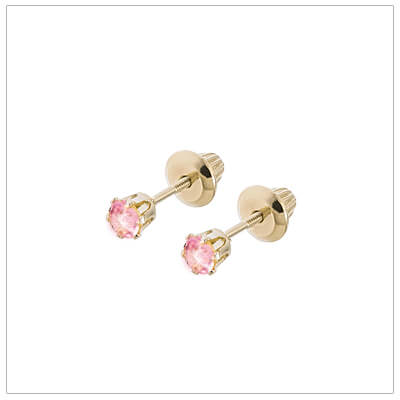 14kt screw back earrings for babies and children, birthstone earrings for October.