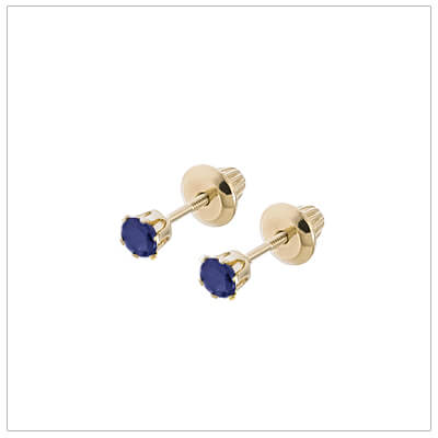 14kt screw back earrings for babies and children, birthstone earrings for September.