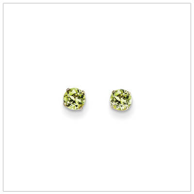 14kt gold birthstone earrings with a 4mm genuine birthstone. Classic stud birthstone earrings for August.