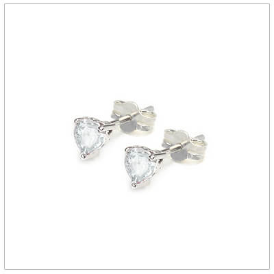 April heart shaped birthstone earrings in sterling silver for children and teens. These birthstone earrings have a decorative basket setting with three prongs.
