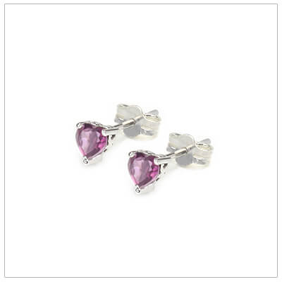 June heart shaped birthstone earrings in sterling silver for children and teens. These birthstone earrings have a decorative basket setting with three prongs.