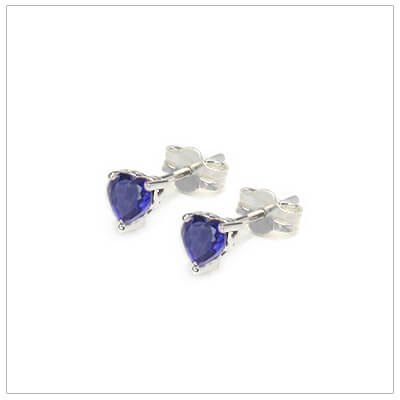 September heart shaped birthstone earrings in sterling silver for children and teens. These birthstone earrings have a decorative basket setting with three prongs.