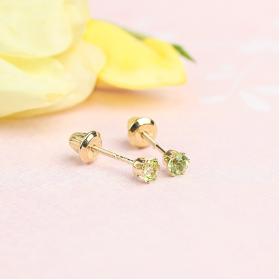 14kt yellow gold birthstone earrings for August with screw backs.