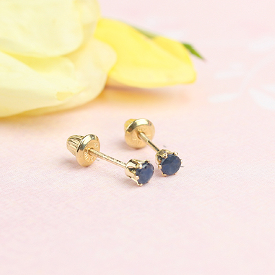 14kt yellow gold birthstone earrings for September with screw backs.