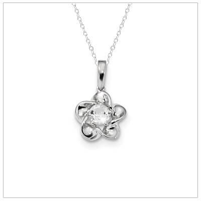 Sterling silver April birthstone necklace with genuine white topaz and chain included.