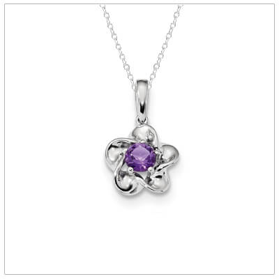 Sterling silver flower shaped February birthstone necklace with genuine amethyst.