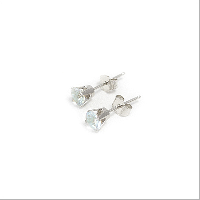 14kt white gold March birthstone earrings, classic stud earrings with a push on back.