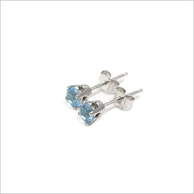14kt white gold December birthstone earrings, classic stud earrings with a push on back.