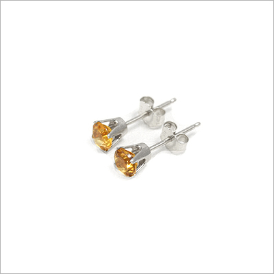 14kt white gold November birthstone earrings, classic stud earrings with a push on back.