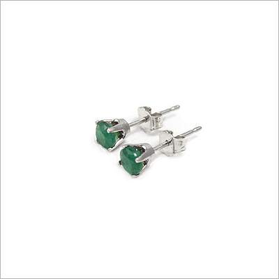 14kt white gold May birthstone earrings, classic stud earrings with a push on back.