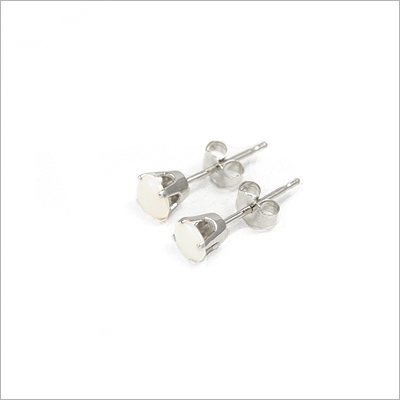14kt white gold October birthstone earrings, classic stud earrings with a push on back.