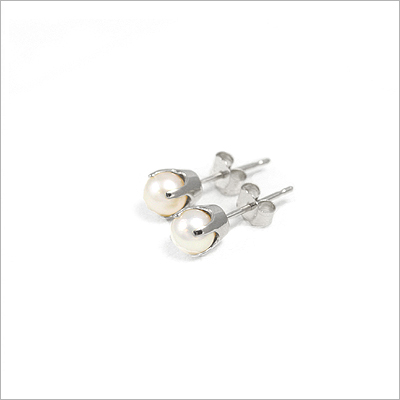 14kt white gold June birthstone earrings, classic stud earrings with a push on back.