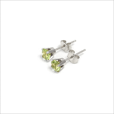 14kt white gold August birthstone earrings, classic stud earrings with a push on back.