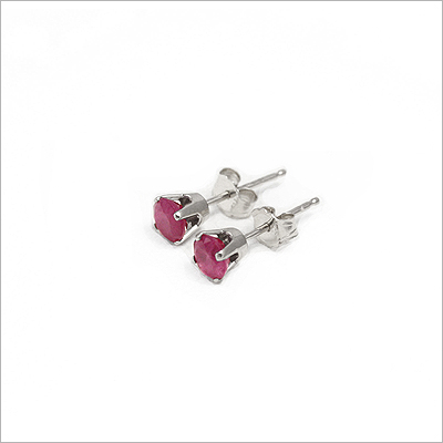 14kt white gold July birthstone earrings, classic stud earrings with a push on back.