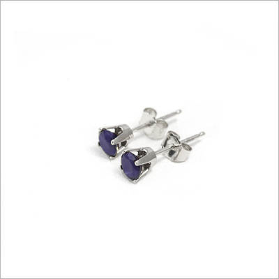 14kt white gold September birthstone earrings, classic stud earrings with a push on back.